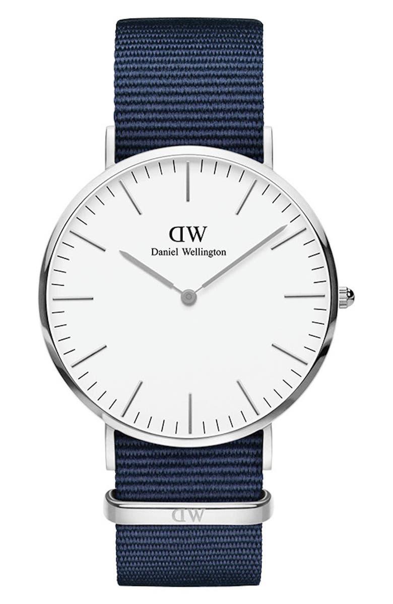 DANIEL WELLINGTON Classic Nylon Strap Watch, 40mm, Main, color, BLUE/ WHITE/ SILVER
