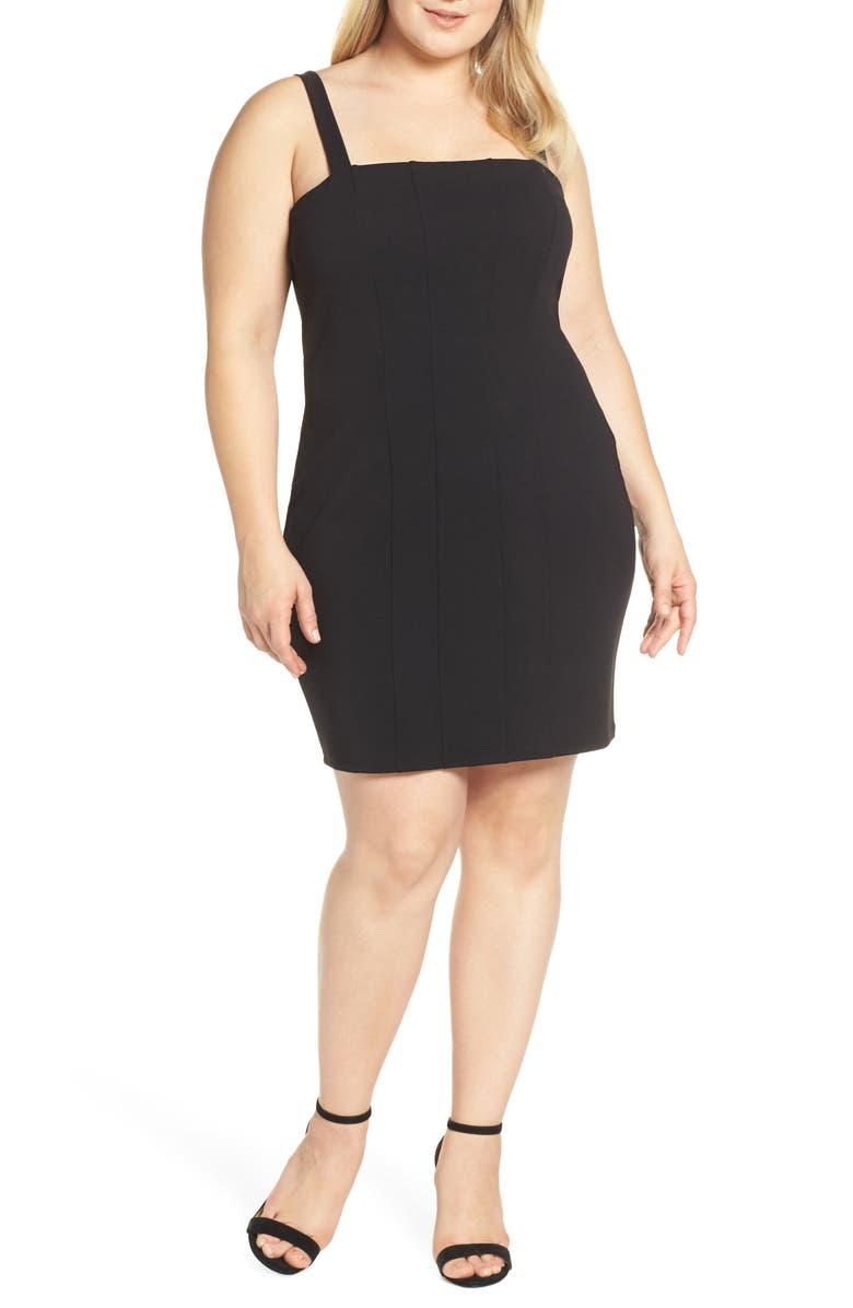 LEITH Seamed Body-Con Dress, Main, color, BLACK