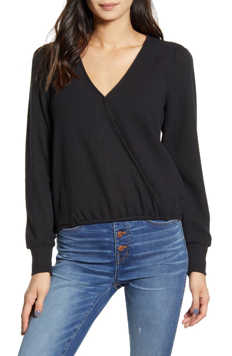 MADEWELL Texture & Thread Puff Sleeve Faux Wrap Top, Main, color, 001