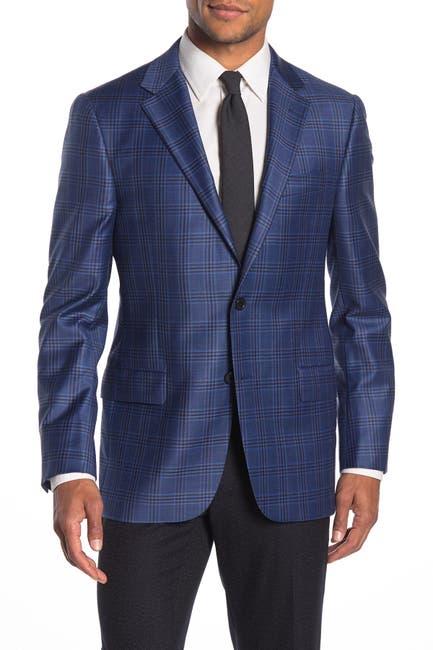 Image of Hickey Freeman Milburn II Medium Blue Plaid Two Button Notch Lapel Wool Classic Fit Blazer