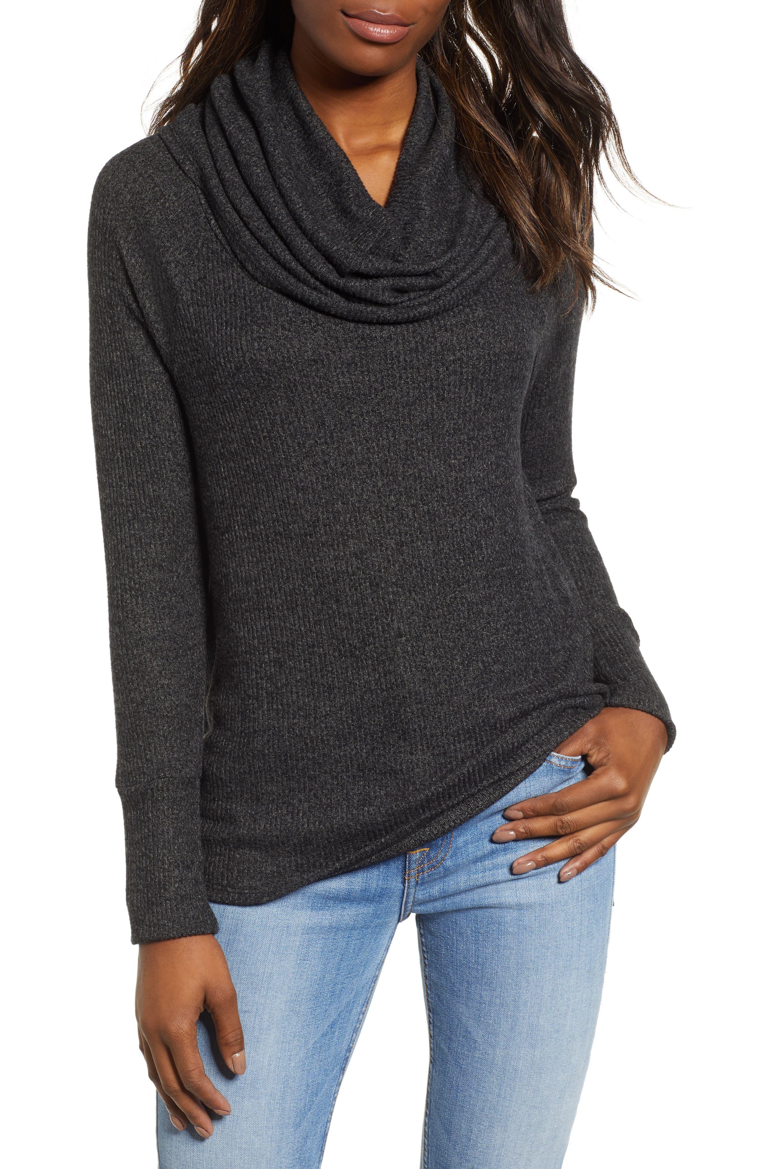 Petite Gibson X Living In Yellow Ribbed Cowl Neck Sweater, Grey