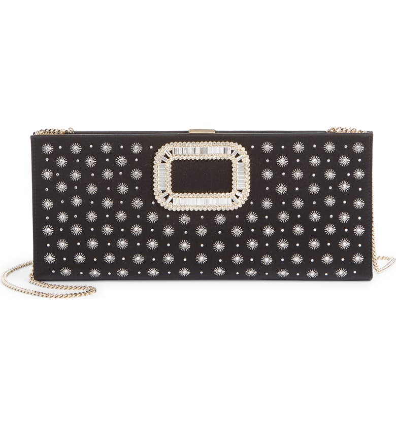 ROGER VIVIER Crystal Buckle Beaded Star Clutch, Main, color, NERO