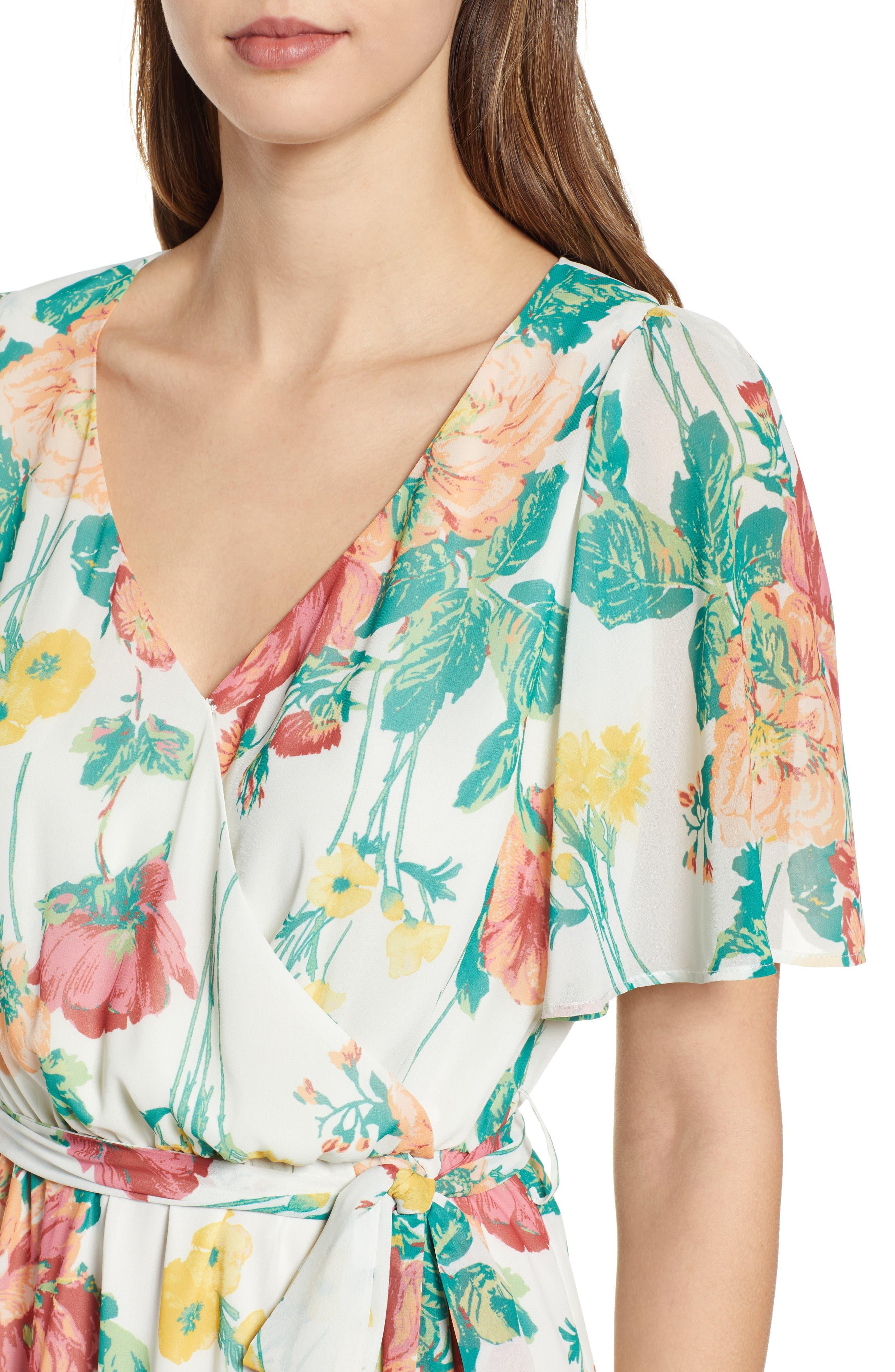 ,                             Flutter Sleeve High/Low Dress,                             Alternate thumbnail 5, color,                             IVORY BOLD ROSE