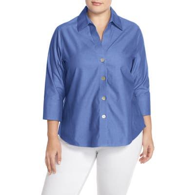 Plus Size Foxcroft Paityn Non-Iron Cotton Shirt, Blue