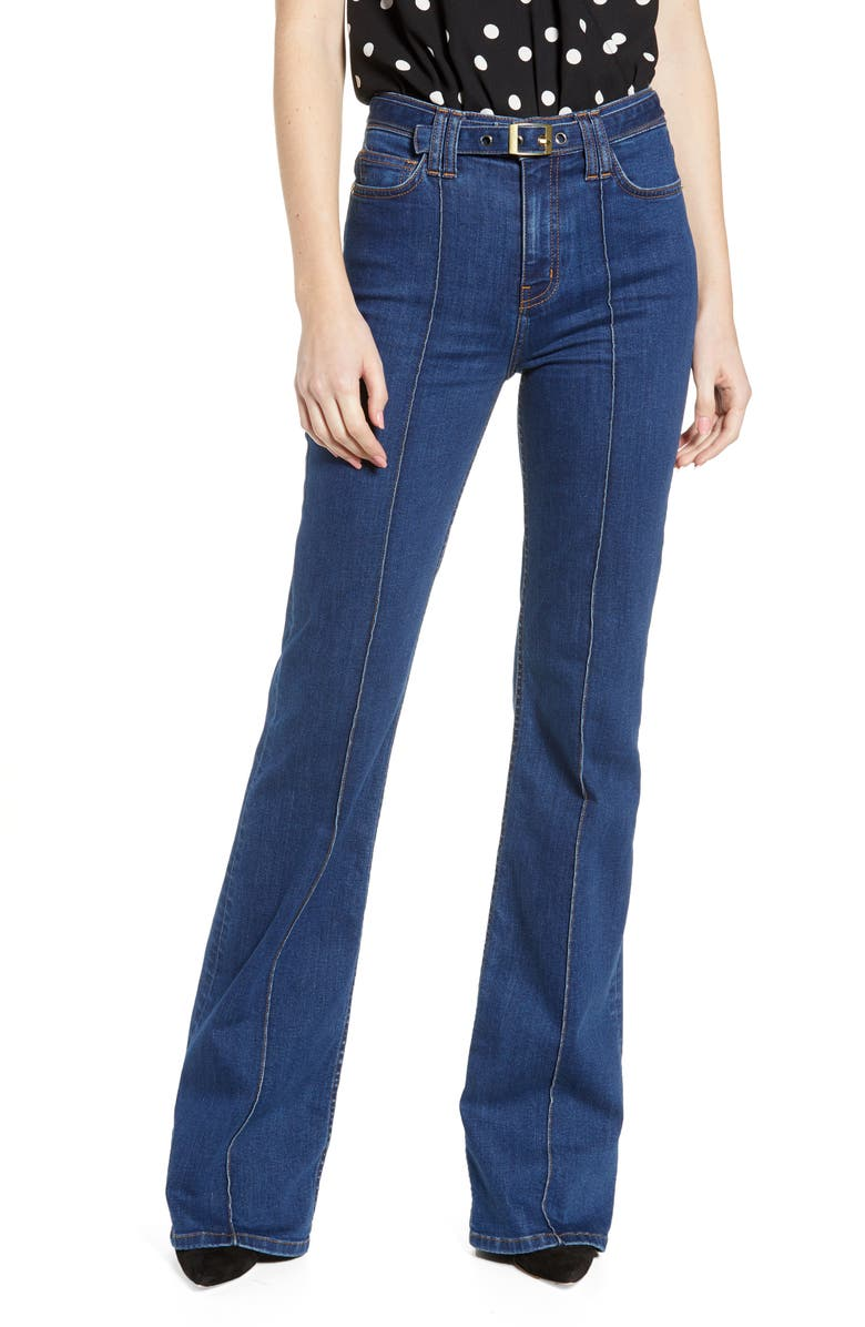 CURRENT/ELLIOTT The Admirer High Waist Belted Flare Jeans, Main, color, 401
