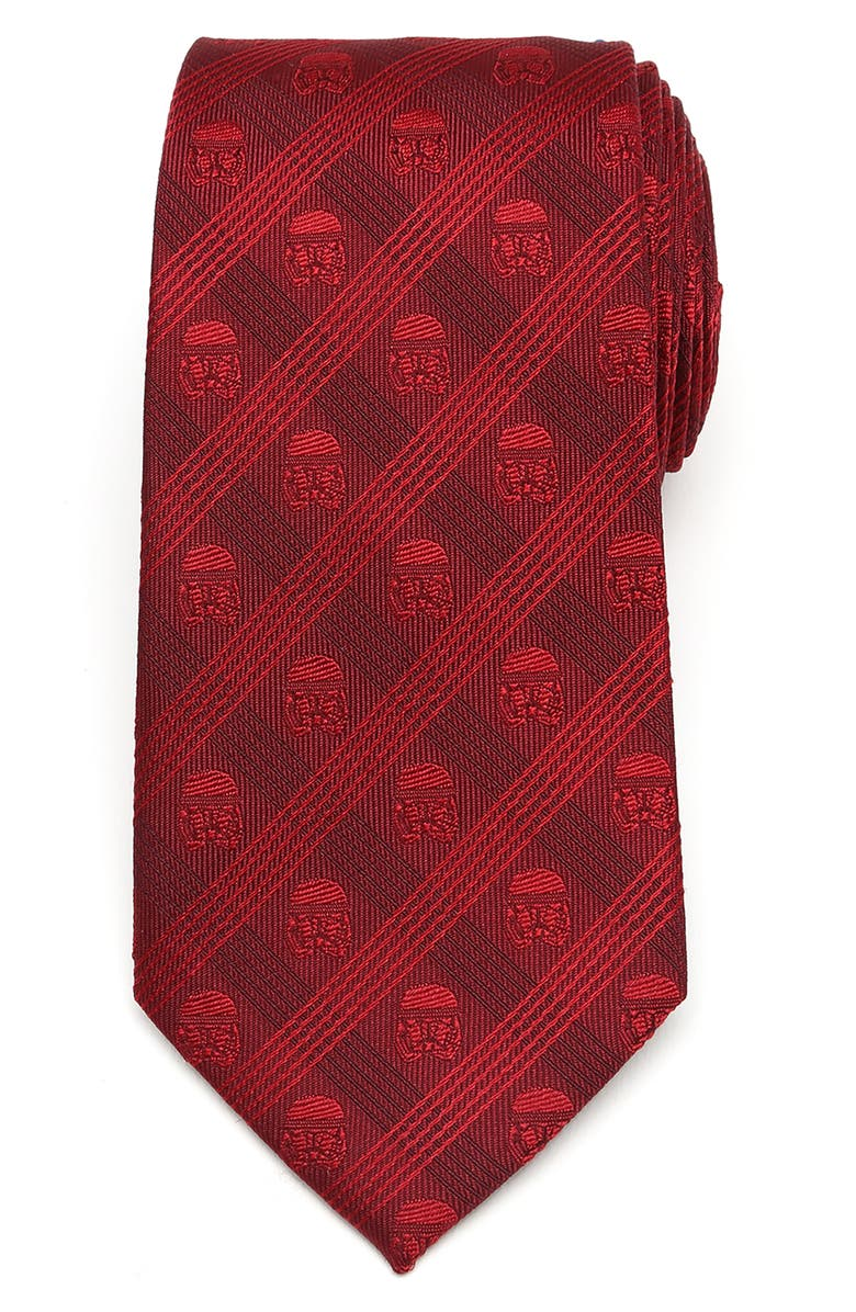 CUFFLINKS, INC. Plaid Stormtrooper Silk Tie, Main, color, RED