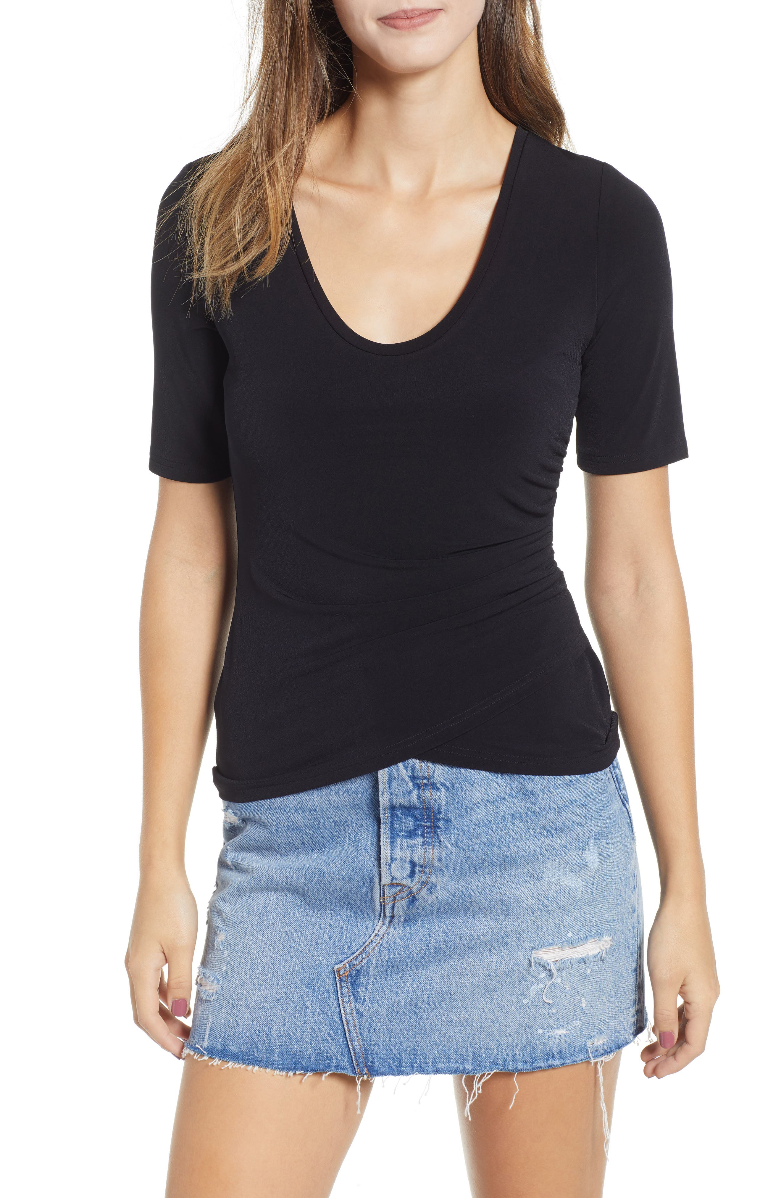 ,                             Ruched Side Tee,                             Main thumbnail 1, color,                             BLACK