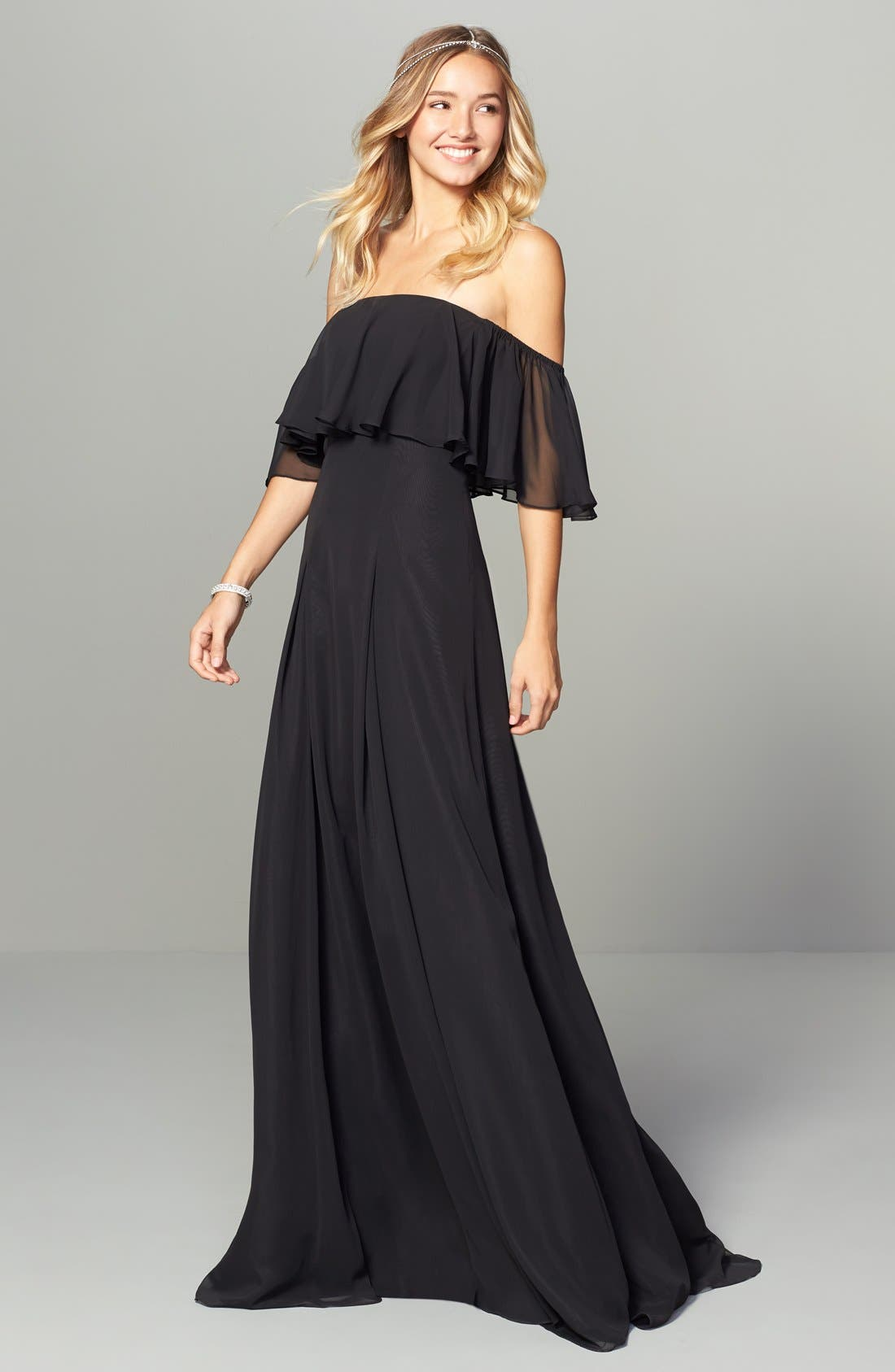 ,                             Off the Shoulder Chiffon Gown,                             Alternate thumbnail 3, color,                             001