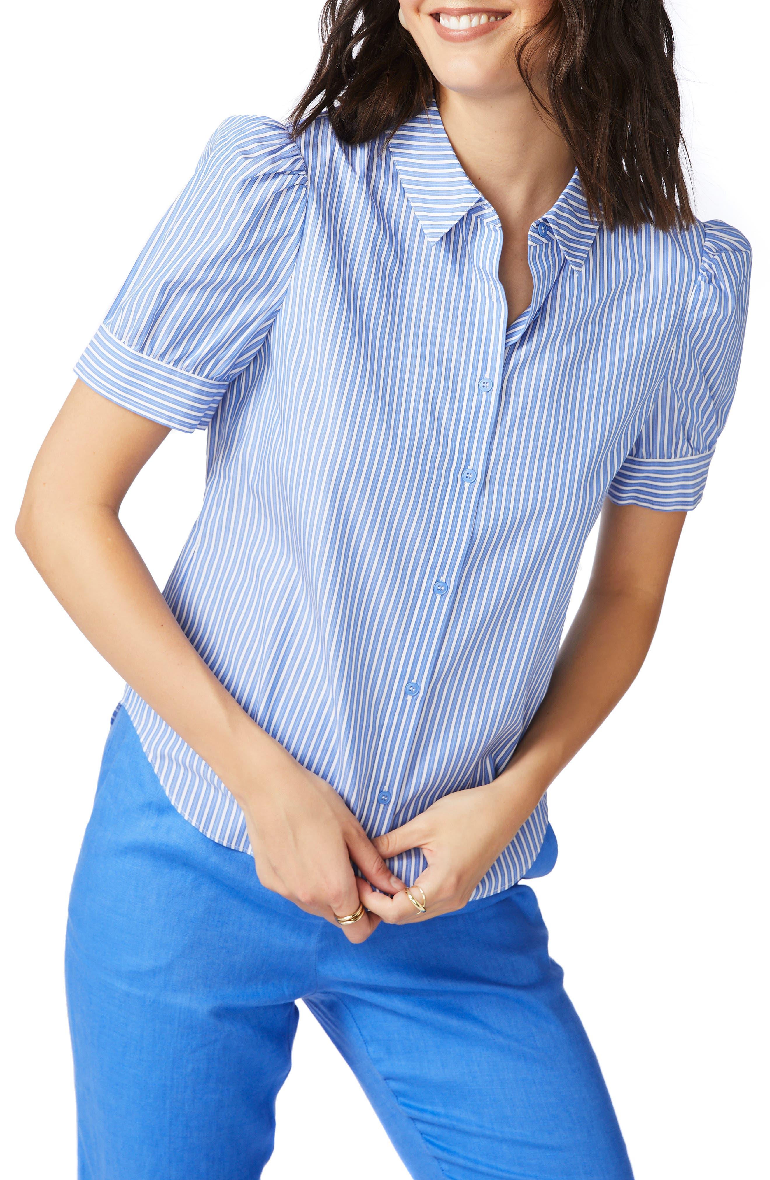 Stripe Puff Sleeve Button-Up Shirt