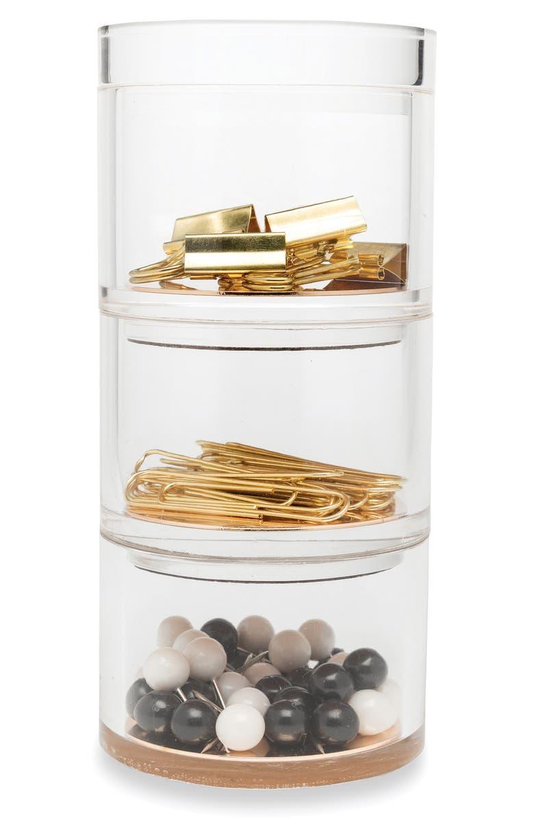 KATE SPADE NEW YORK stackable desk organizer set, Main, color, GOLD