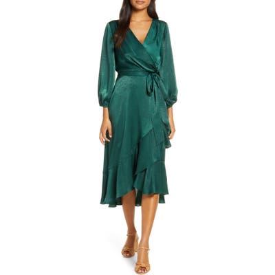 Gal Meets Glam Collection Jennifer Shimmer Satin Wrap Dress, Regular - Green