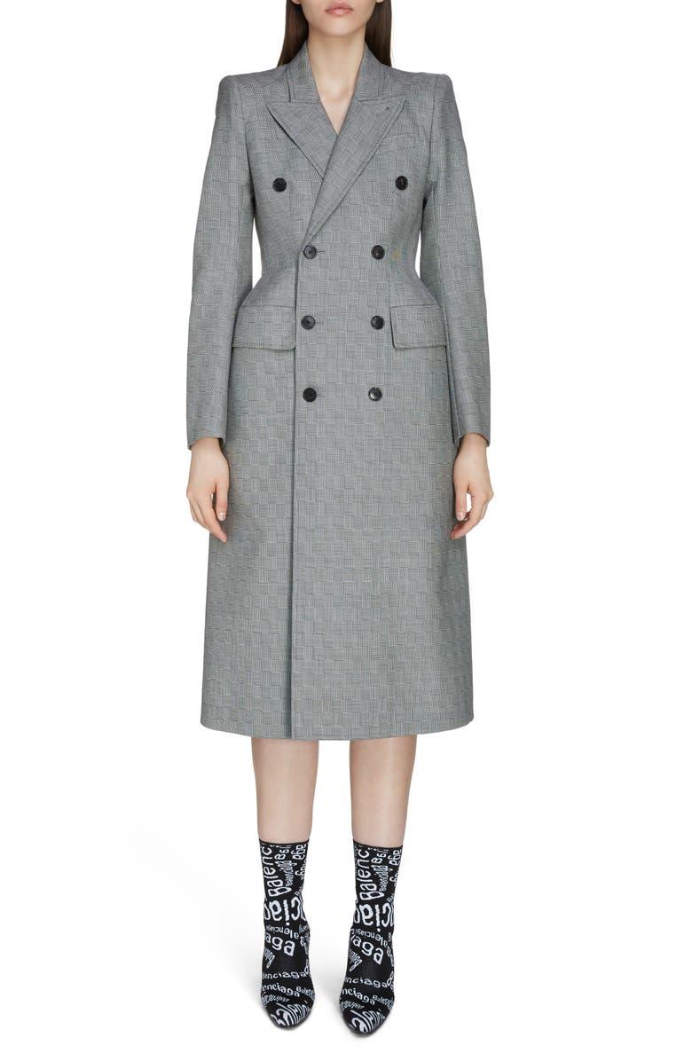 BALENCIAGA Double Breasted Check Wool Jacket, Main, color, 001