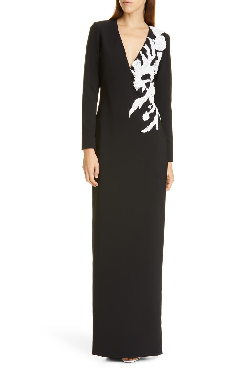 PAMELLA ROLAND Sequin Flower Long Sleeve Stretch Crepe Gown, Main, color, BLACK/ WHITE