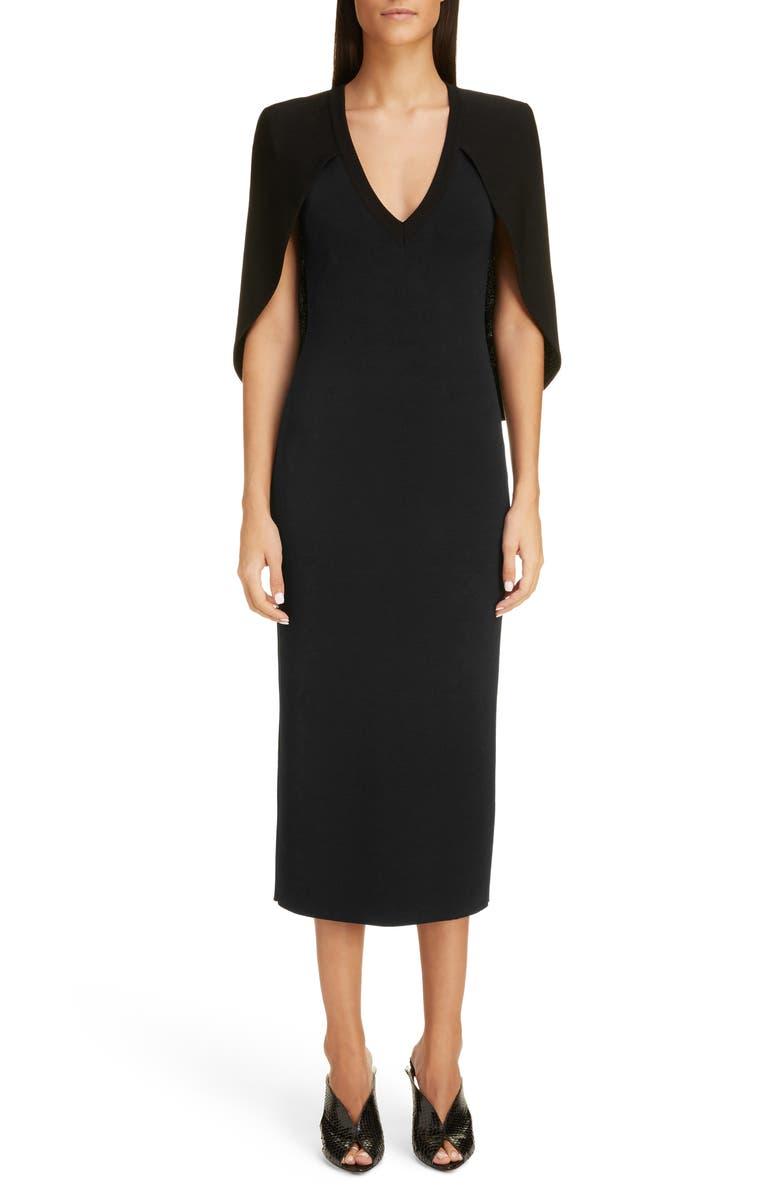 GIVENCHY Cape Back Knit Midi Dress, Main, color, BLACK