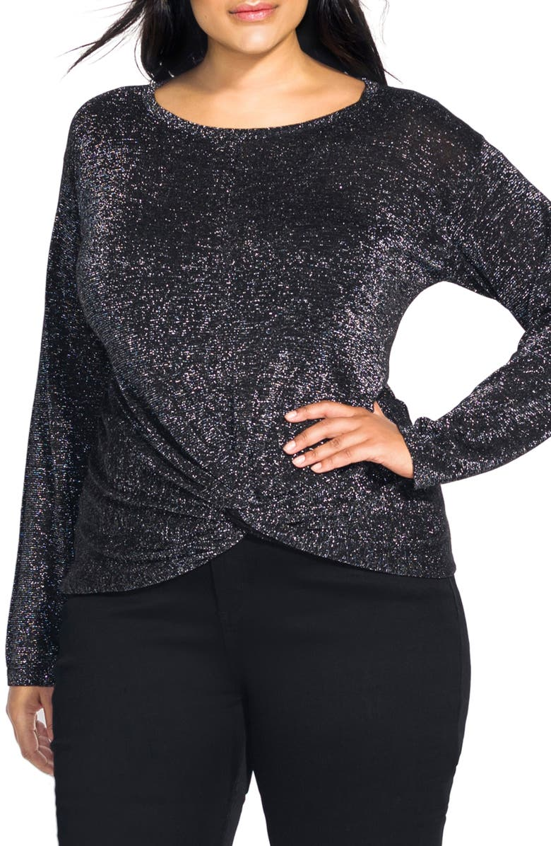CITY CHIC Knot Front Metallic Sweater, Main, color, BLACK