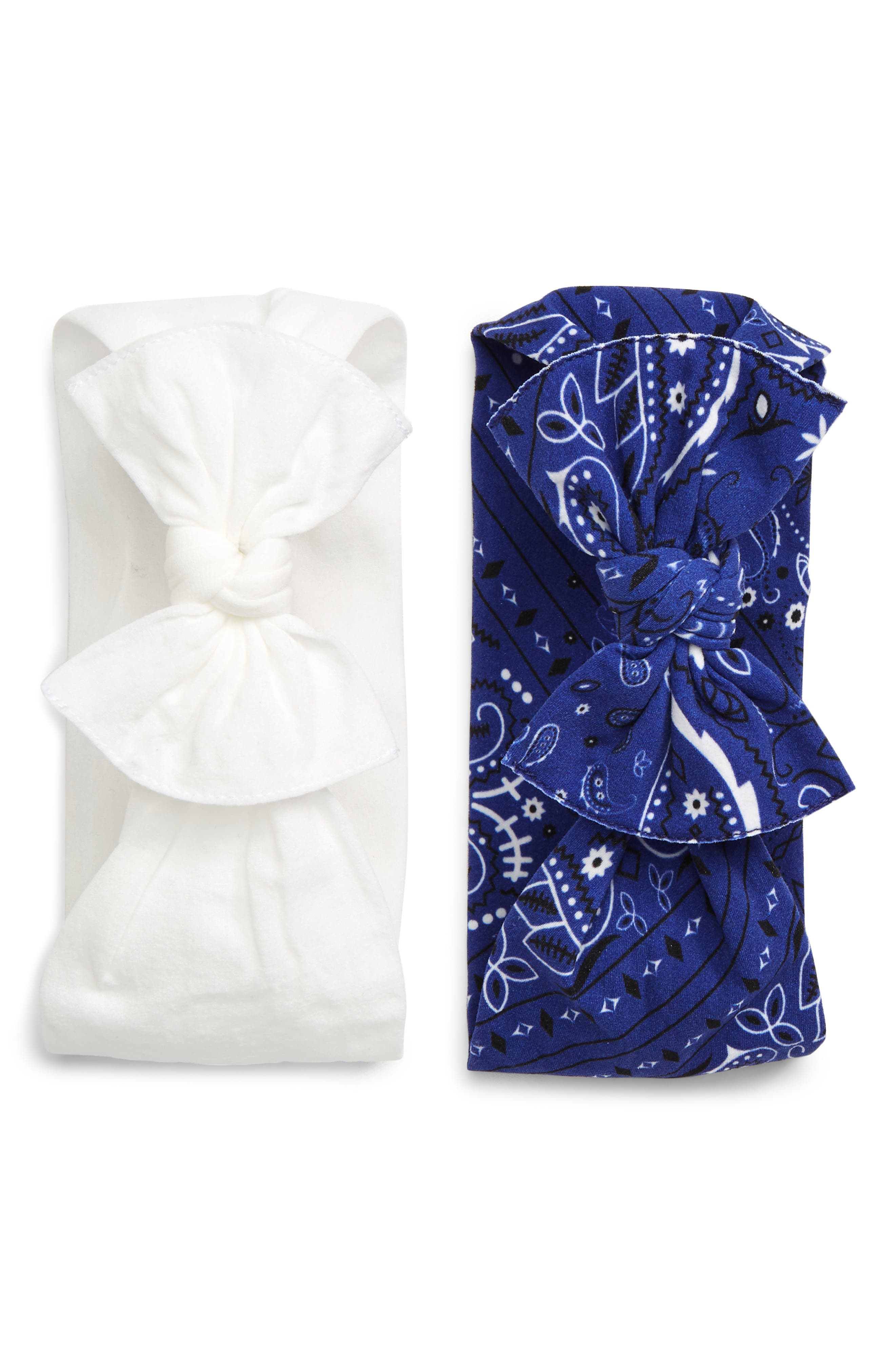 ,                             2-Pack Knotted Headbands,                             Main thumbnail 1, color,                             NAVY BANDANA/ WHITE