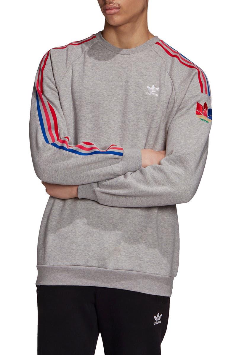 ADIDAS ORIGINALS Adicolor 3D Trefoil Logo Crewneck Sweatshirt, Main, color, GREY