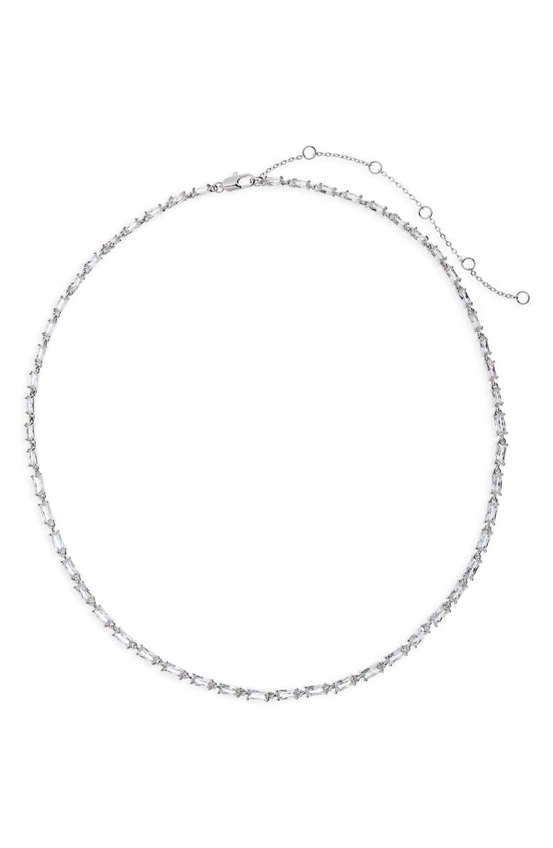 NORDSTROM Cubic Zirconia Baguette Collar Necklace, Main, color, CLEAR- SILVER