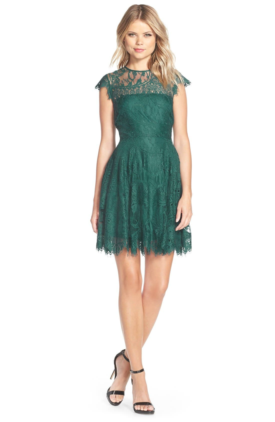 ,                             Rhianna Open Back Lace Fit & Flare Cocktail Dress,                             Alternate thumbnail 36, color,                             322