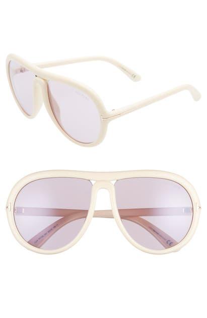 Tom Ford Cybil 60Mm Aviator Sunglasses - Ivory/ Antique Pink