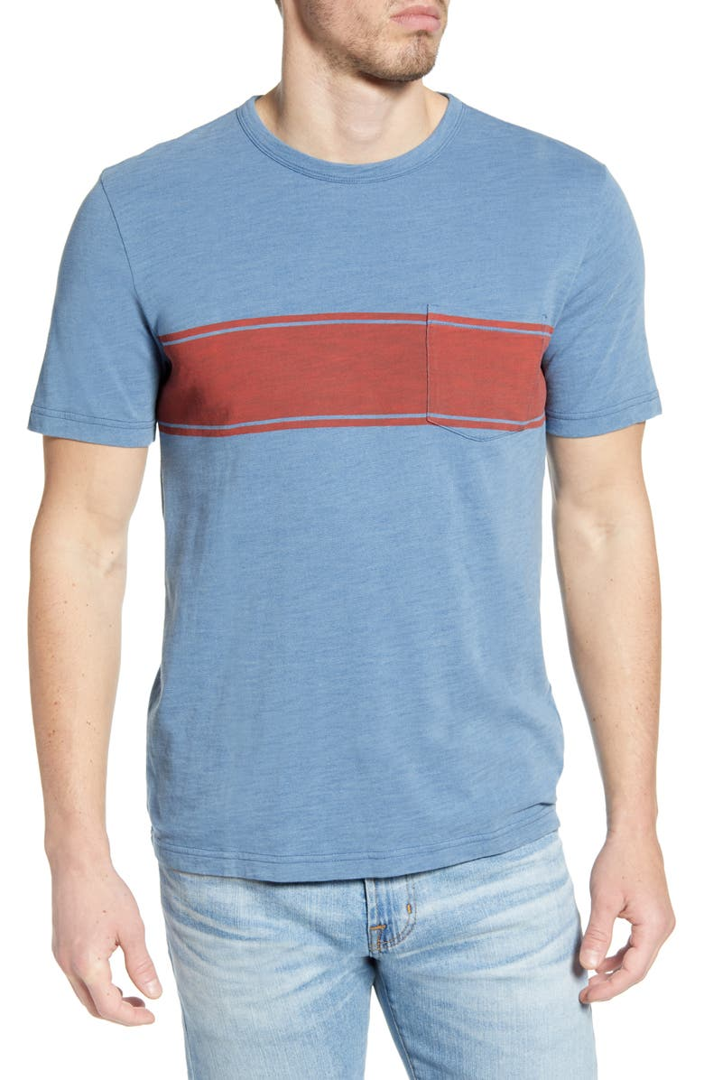 FAHERTY Surf Stripe Pocket T-Shirt, Main, color, INDIGO VINTAGE STRIPE