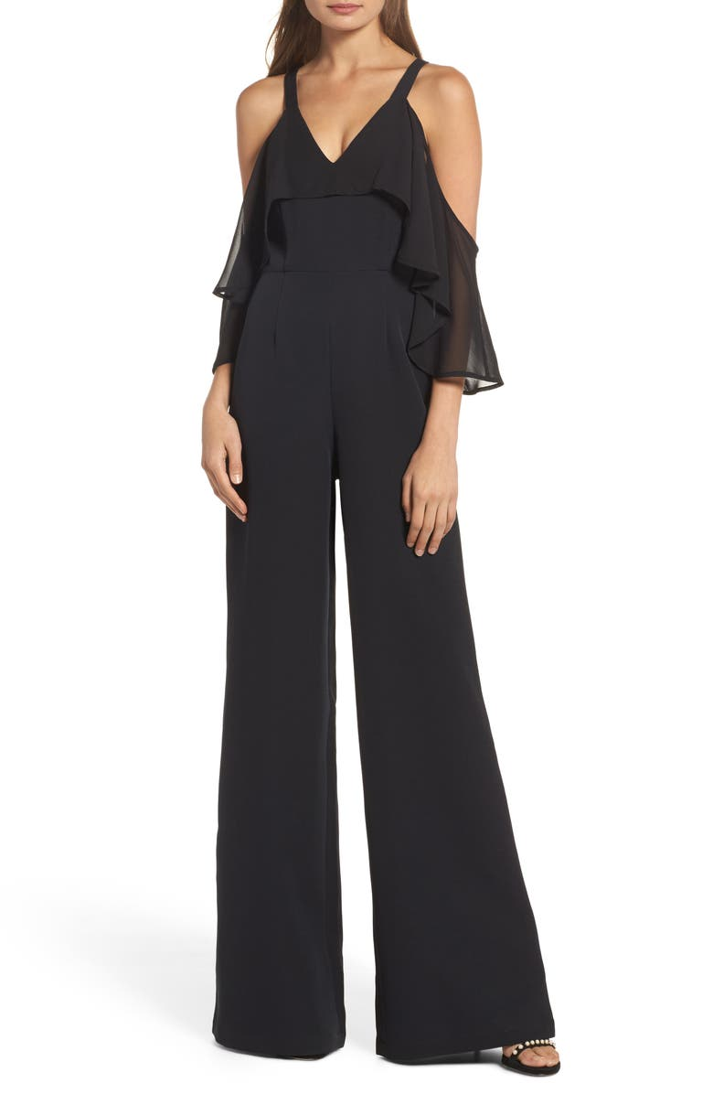 JAY BY JAY GODFREY Oliver Cold Shoulder Ruffle Jumpsuit, Main, color, 001