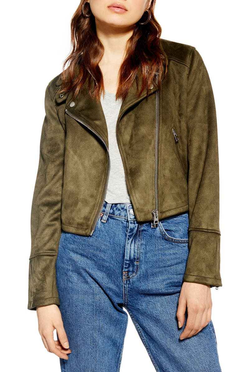 TOPSHOP George Faux Suede Biker Jacket, Main, color, OLIVE