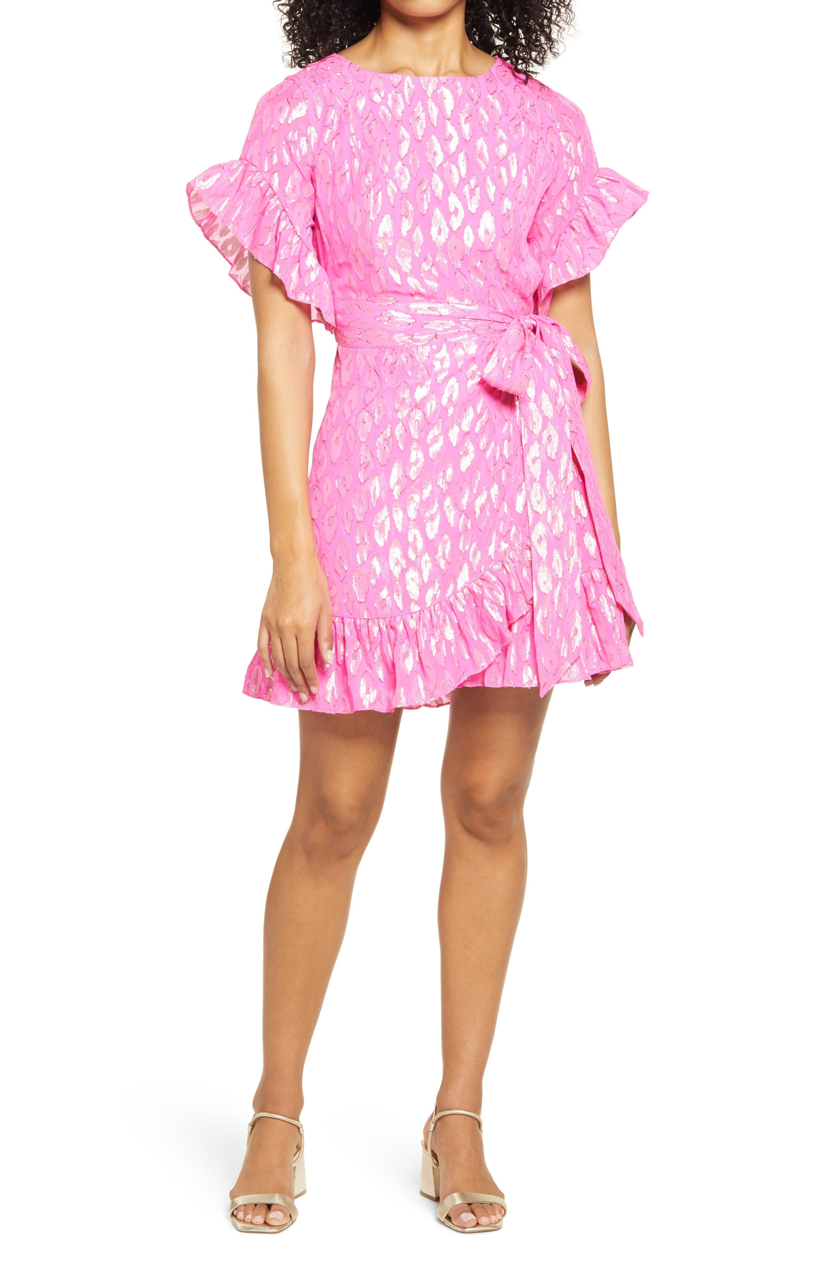 Women's Lilly Pulitzer Darlah Metallic Leopard Silk Dress