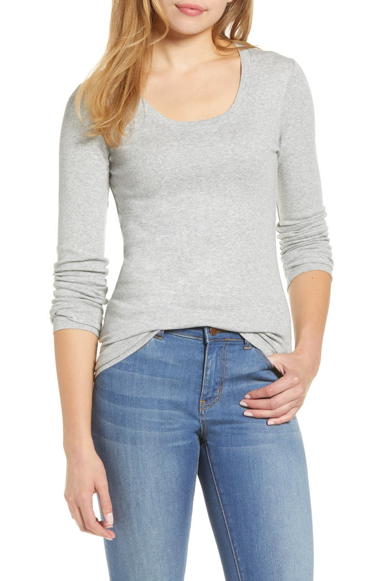 CASLON<SUP>®</SUP> 'Melody' Long Sleeve Scoop Neck Tee, Main, color, GREY HEATHER