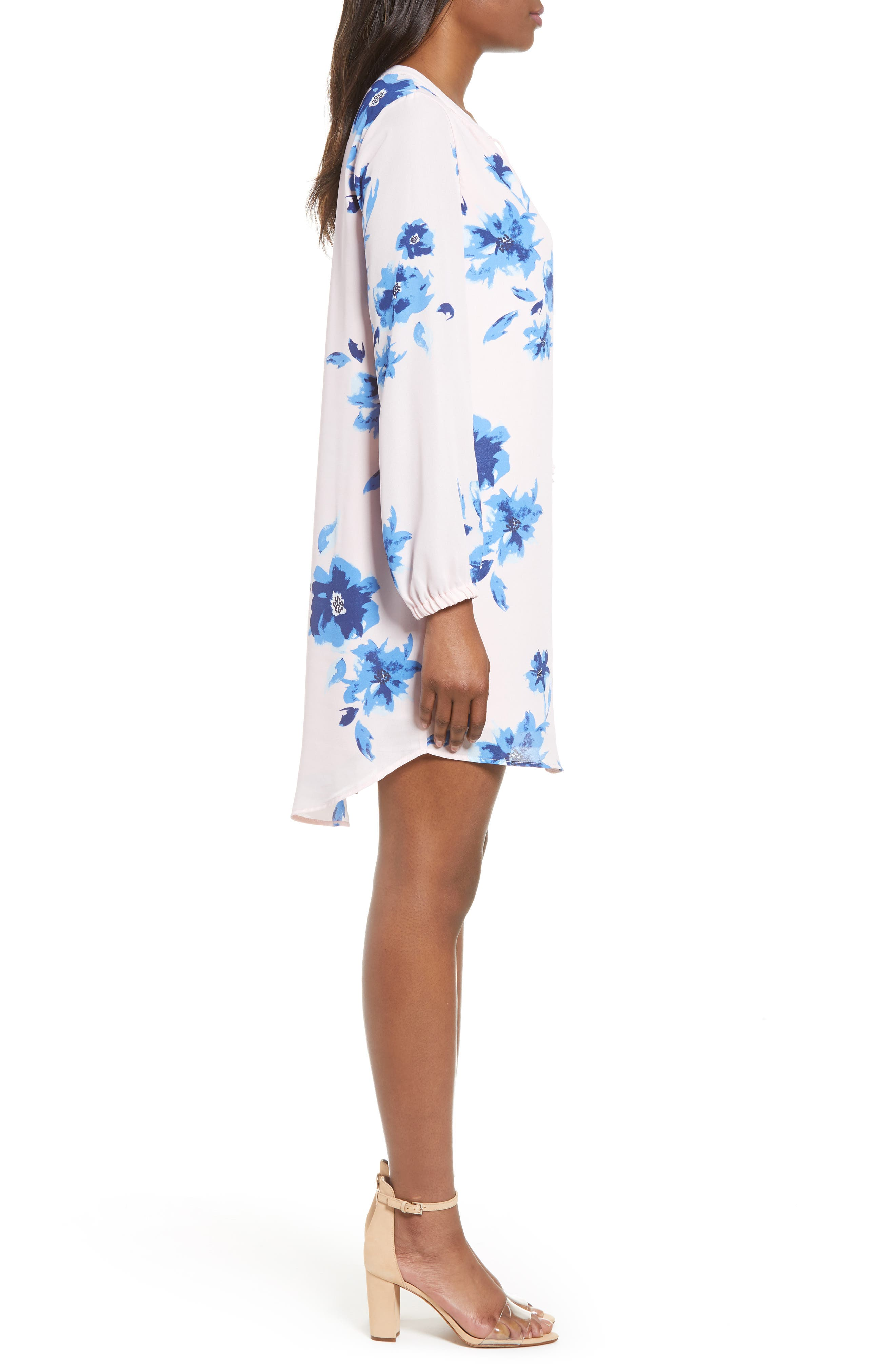 ,                             x Living in Yellow Holly Split Neck Long Sleeve Shirtdress,                             Alternate thumbnail 4, color,                             WATER FLORAL BLUSH