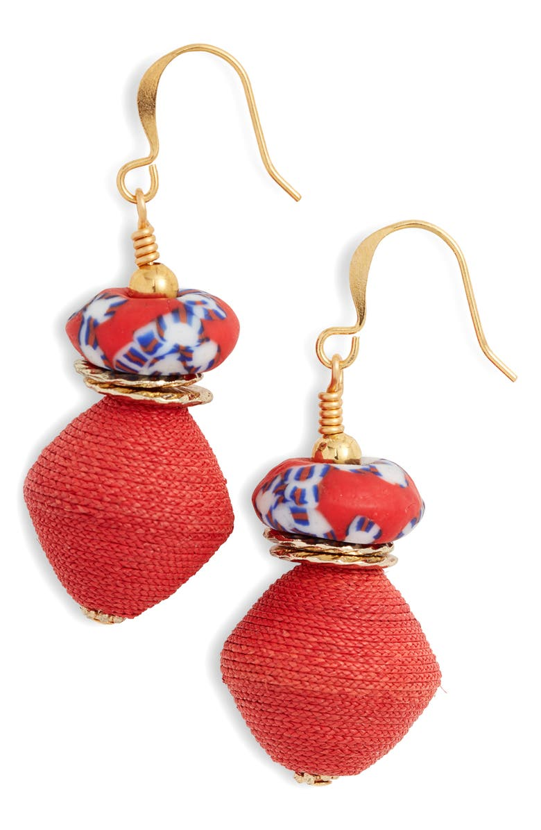 AKOLA Recycled Glass & Raffia Drop Earrings, Main, color, RED