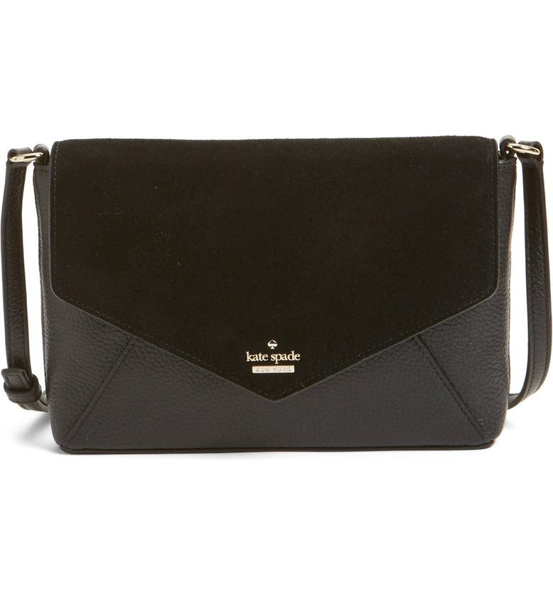 KATE SPADE NEW YORK 'spencer court - large monday' suede & leather envelope crossbody bag, Main, color, 001