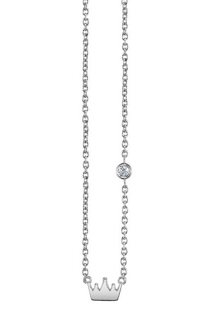 Image of SHY BY SE Sterling Silver Diamond Crown Pendant Necklace - 0.015 ctw