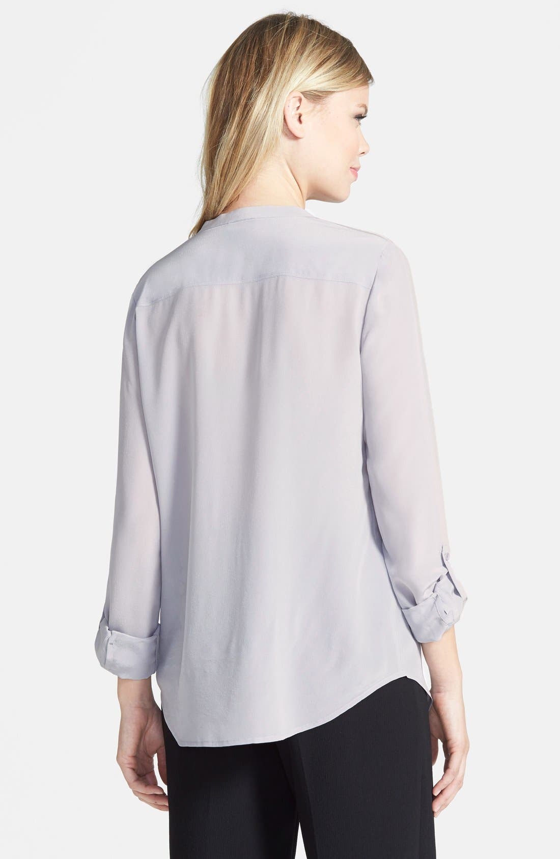,                             Collarless Silk Blouse,                             Alternate thumbnail 18, color,                             021