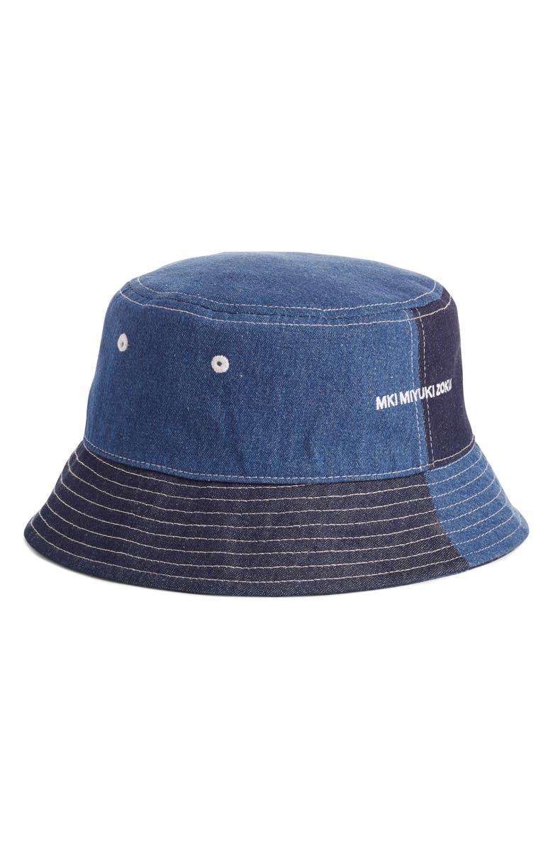 MKI MIYUKI ZOKU Patchwork Denim Bucket Hat, Main, color, 400