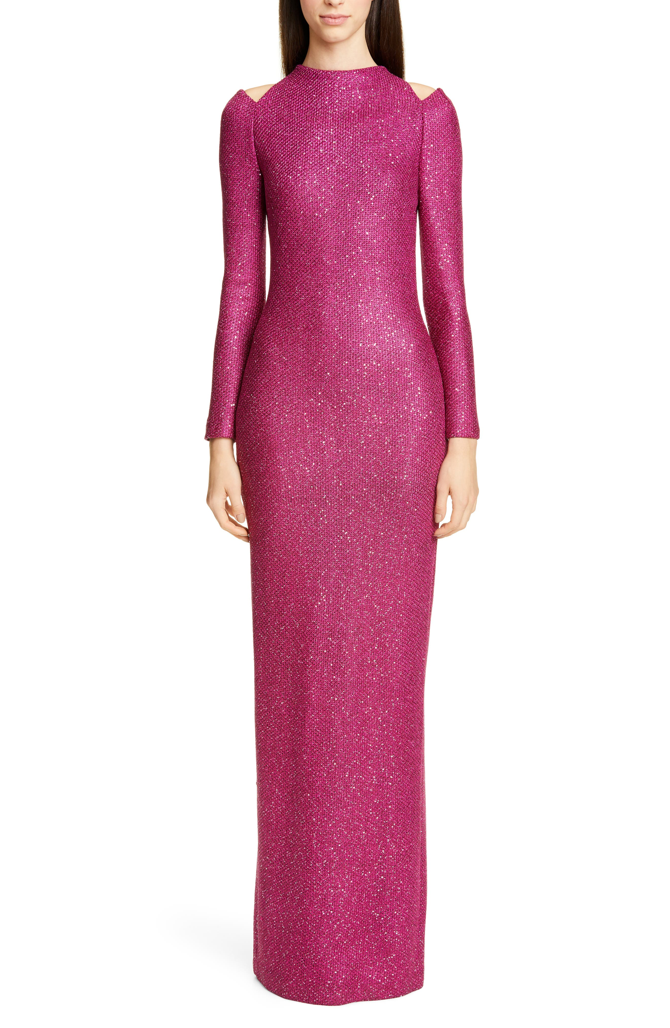 St. John Collection Luxe Long Sleeve Sequin Tuck Knit Gown, Pink