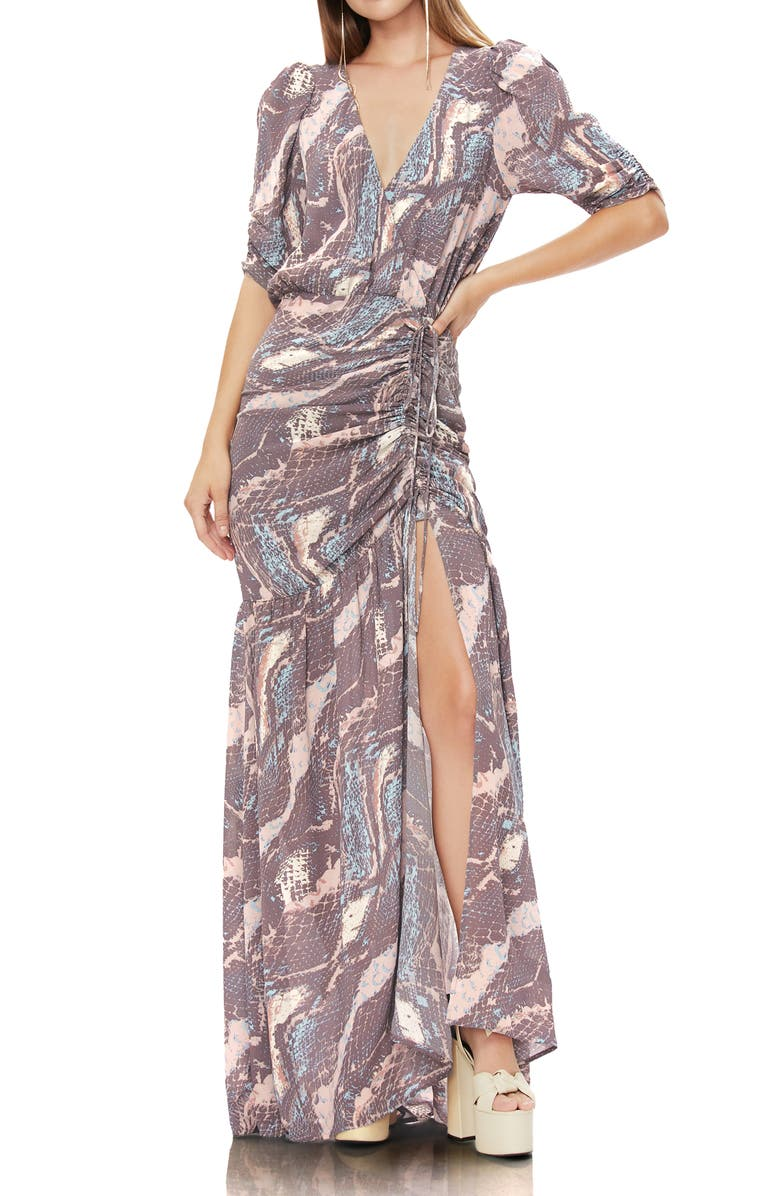 AFRM Nile Ruched Maxi Dress, Main, color, ABSTRACT SNAKE