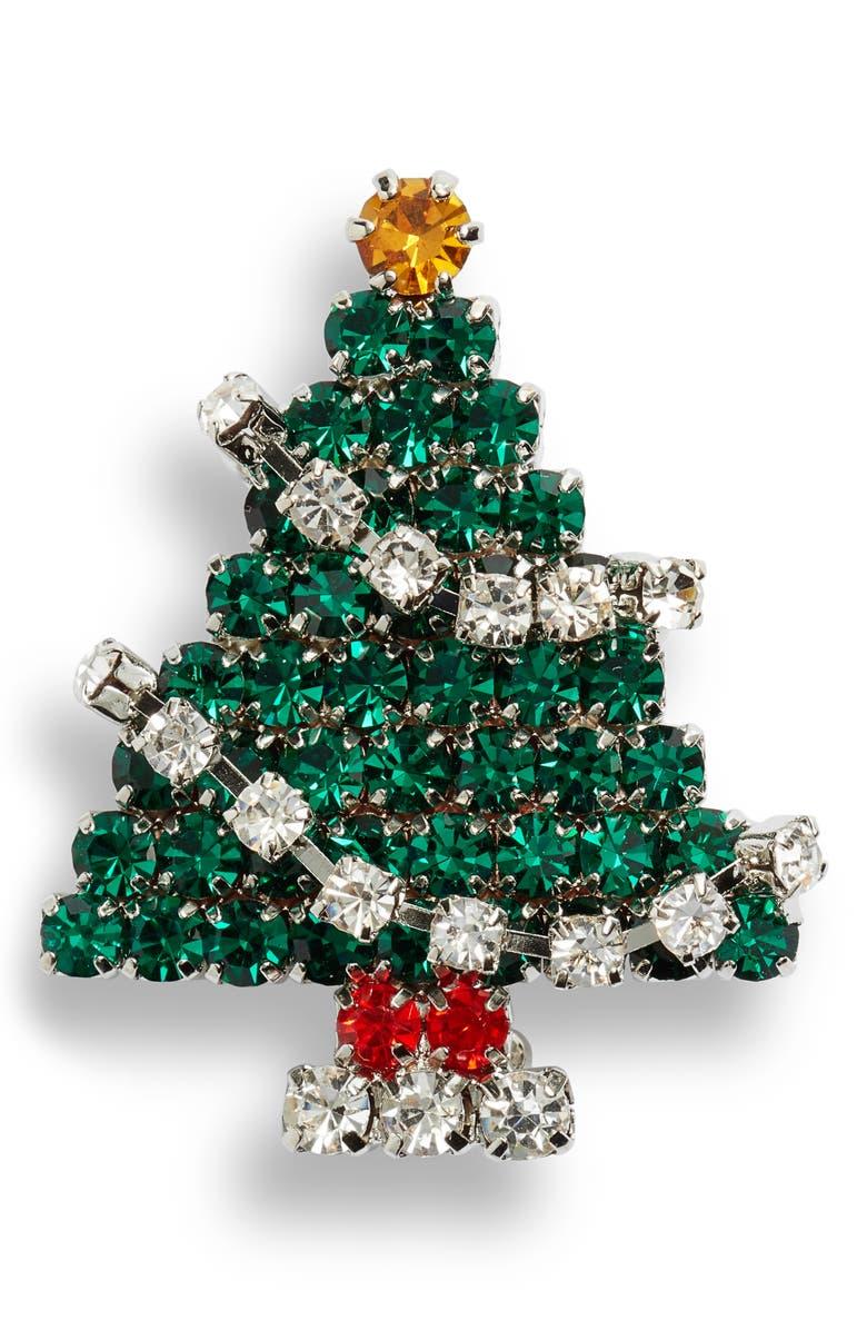 CRISTABELLE Classic Christmas Tree Pin, Main, color, MULTI/ RHODIUM