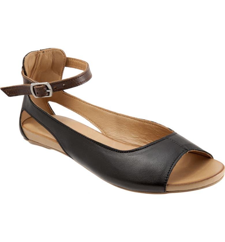 BUENO Donna Ankle Strap Sandal, Main, color, BLACK LEATHER