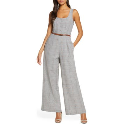 Julia Jordan Belted Glen Plaid Wide Leg Jumpsuit, Beige