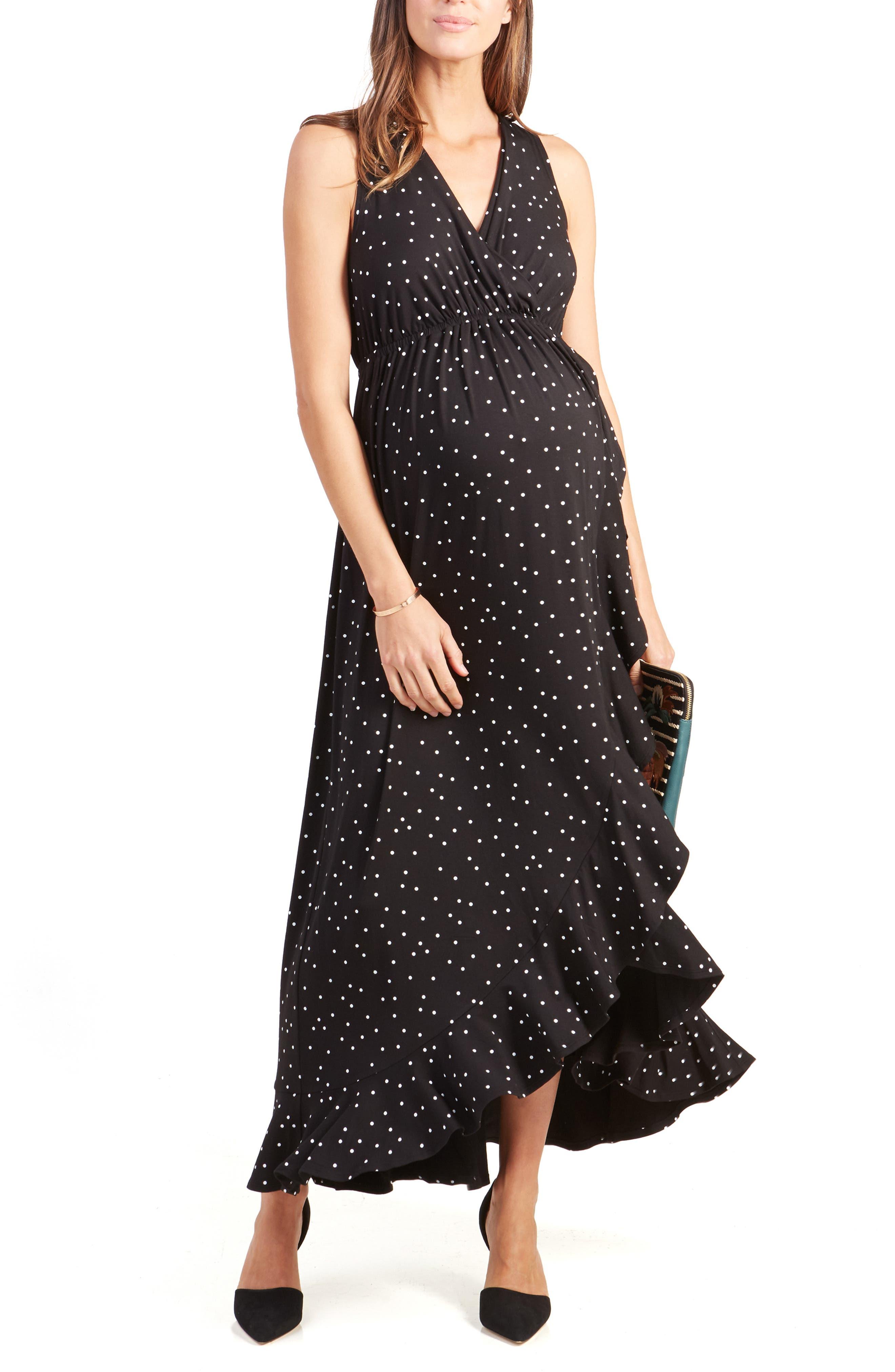 ,                             Active Racerback Ruffle Maternity Maxi Dress,                             Main thumbnail 1, color,                             BLACK POLKA DOT PRINT