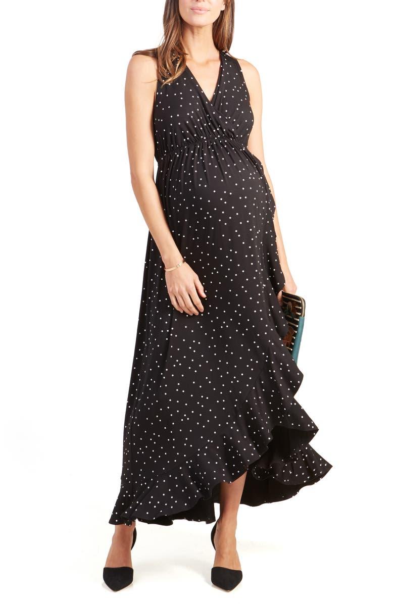 INGRID & ISABEL<SUP>®</SUP> Active Racerback Ruffle Maternity Maxi Dress, Main, color, BLACK POLKA DOT PRINT