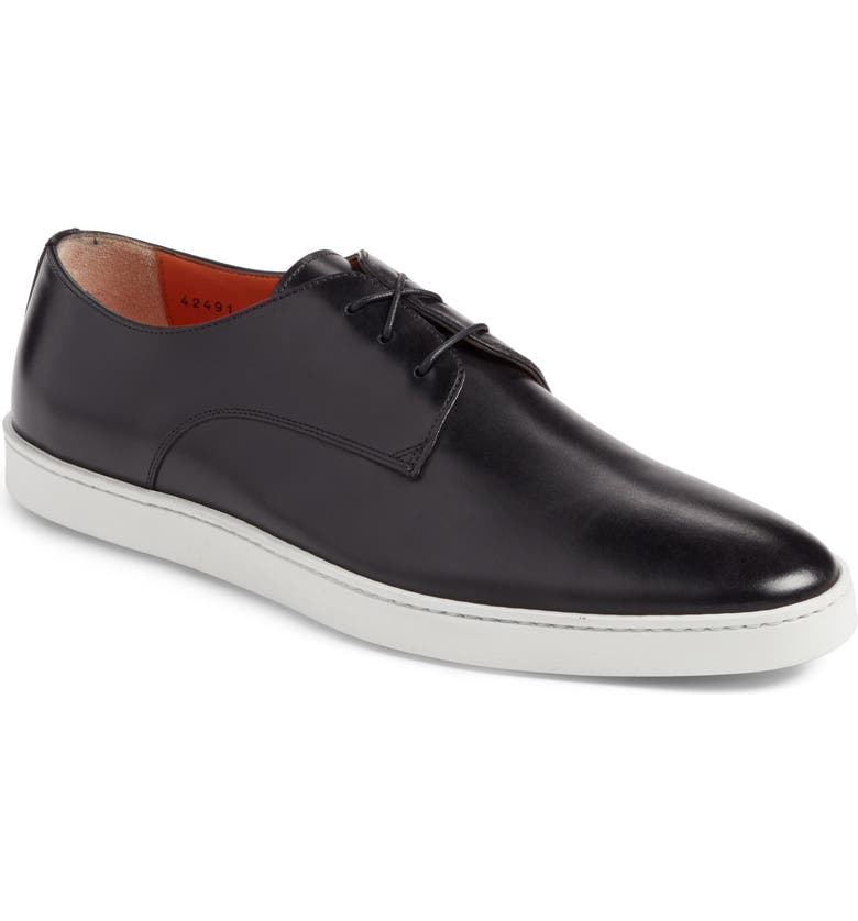 SANTONI Doyle Sneaker, Main, color, BLACK LEATHER