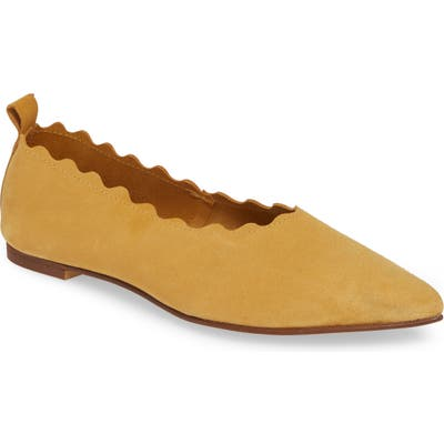 Klub Nico Naomi Scallop Pointy Toe Flat, Yellow