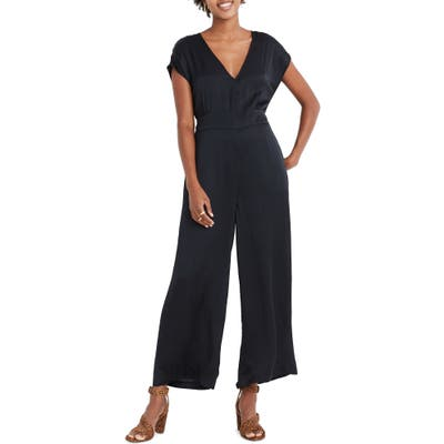 Madewell Open Back Satin Jumpsuit, Black