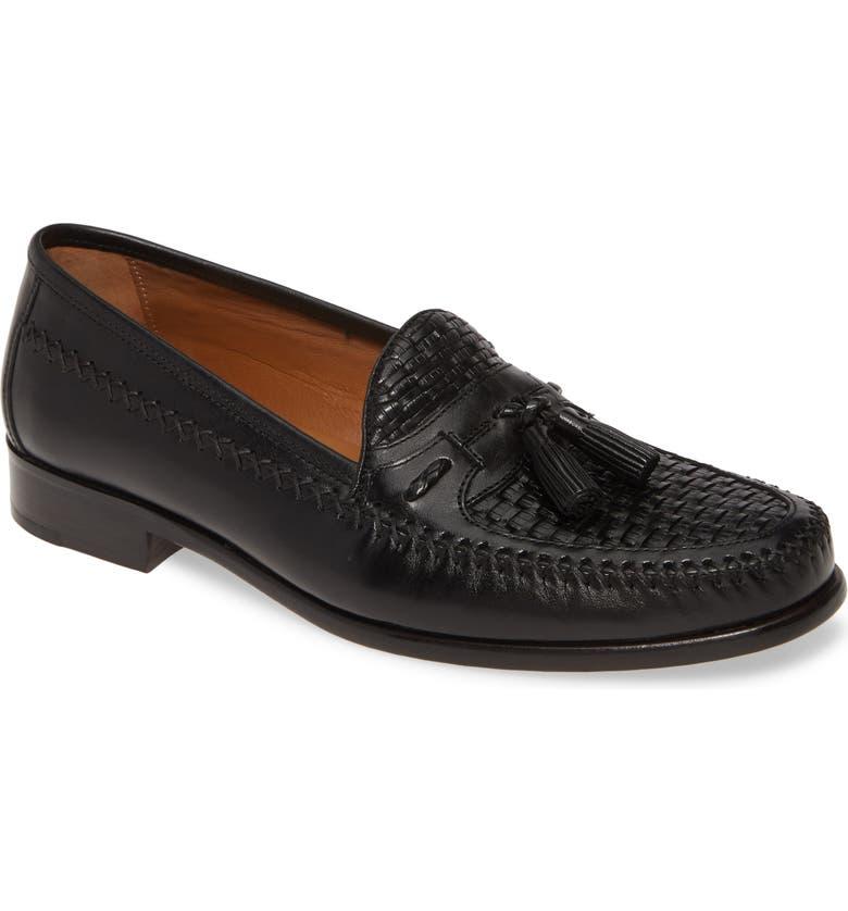 JOHNSTON & MURPHY Domani Woven Tassel Loafer, Main, color, 001