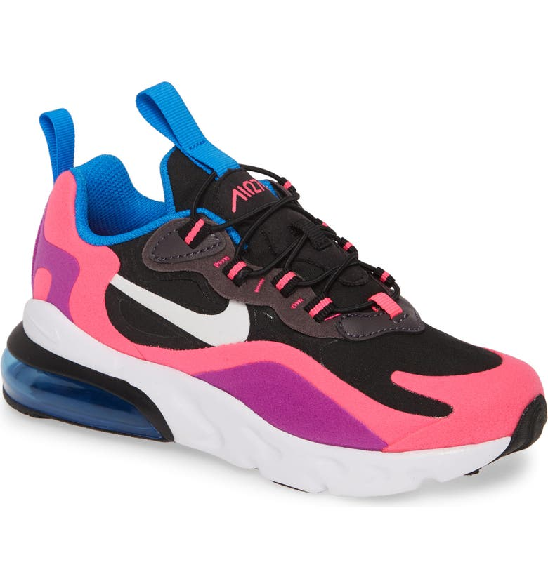 NIKE Air Max 270 React Sneaker, Main, color, BLACK/ WHITE/ PINK/ PURPLE