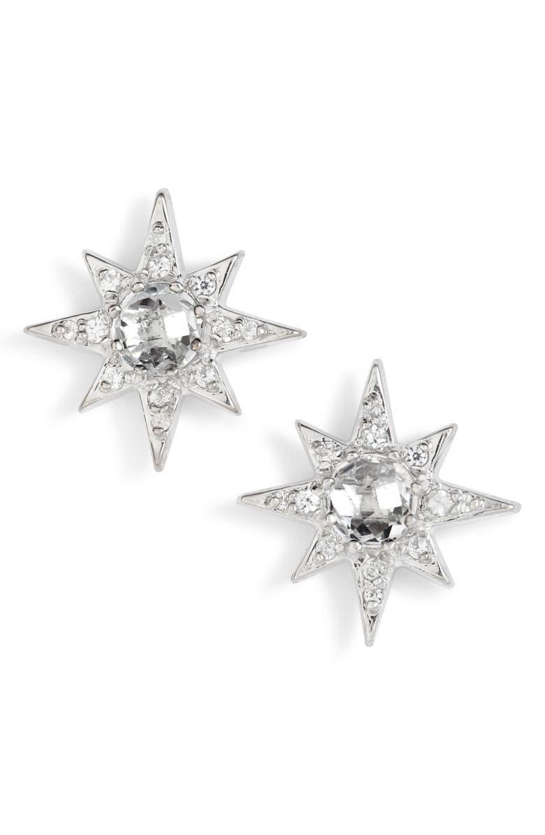 ANZIE Mini Starburst White Topaz Earrings, Main, color, WHITE TOPAZ