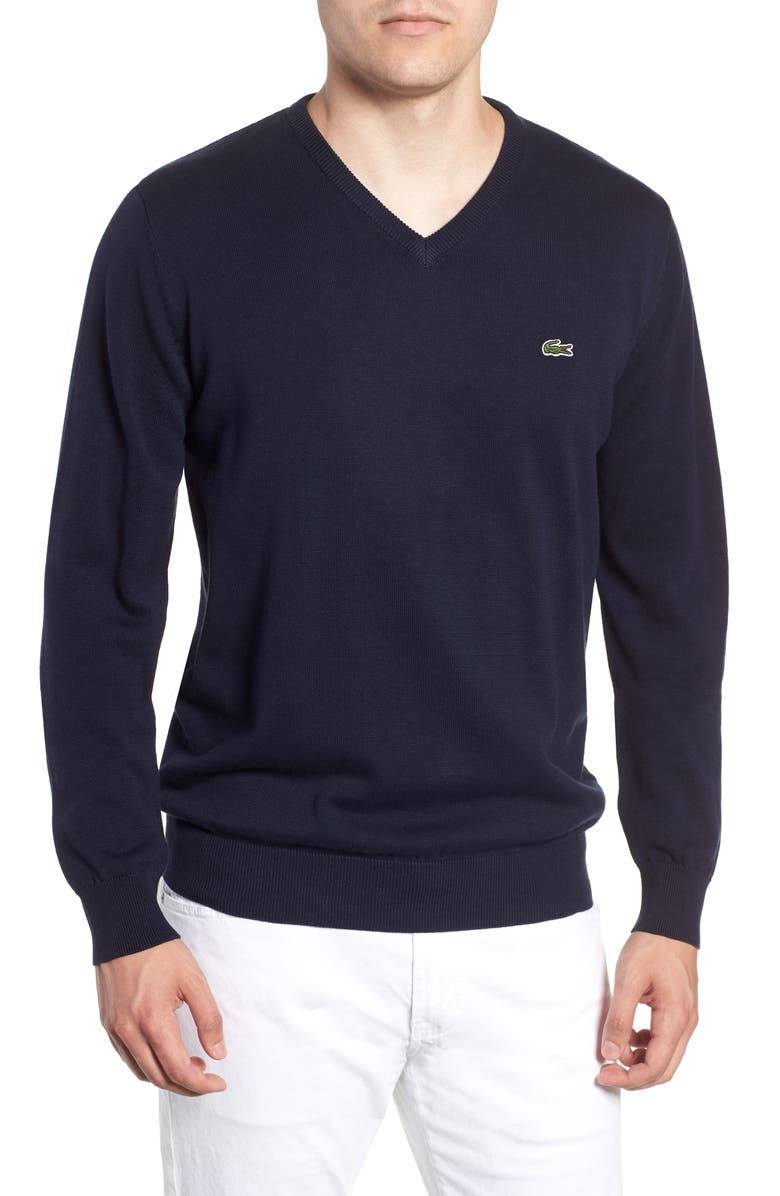 LACOSTE Regular Fit V-Neck Sweater, Main, color, NAVY BLUE/ FLOUR NAVY BLUE