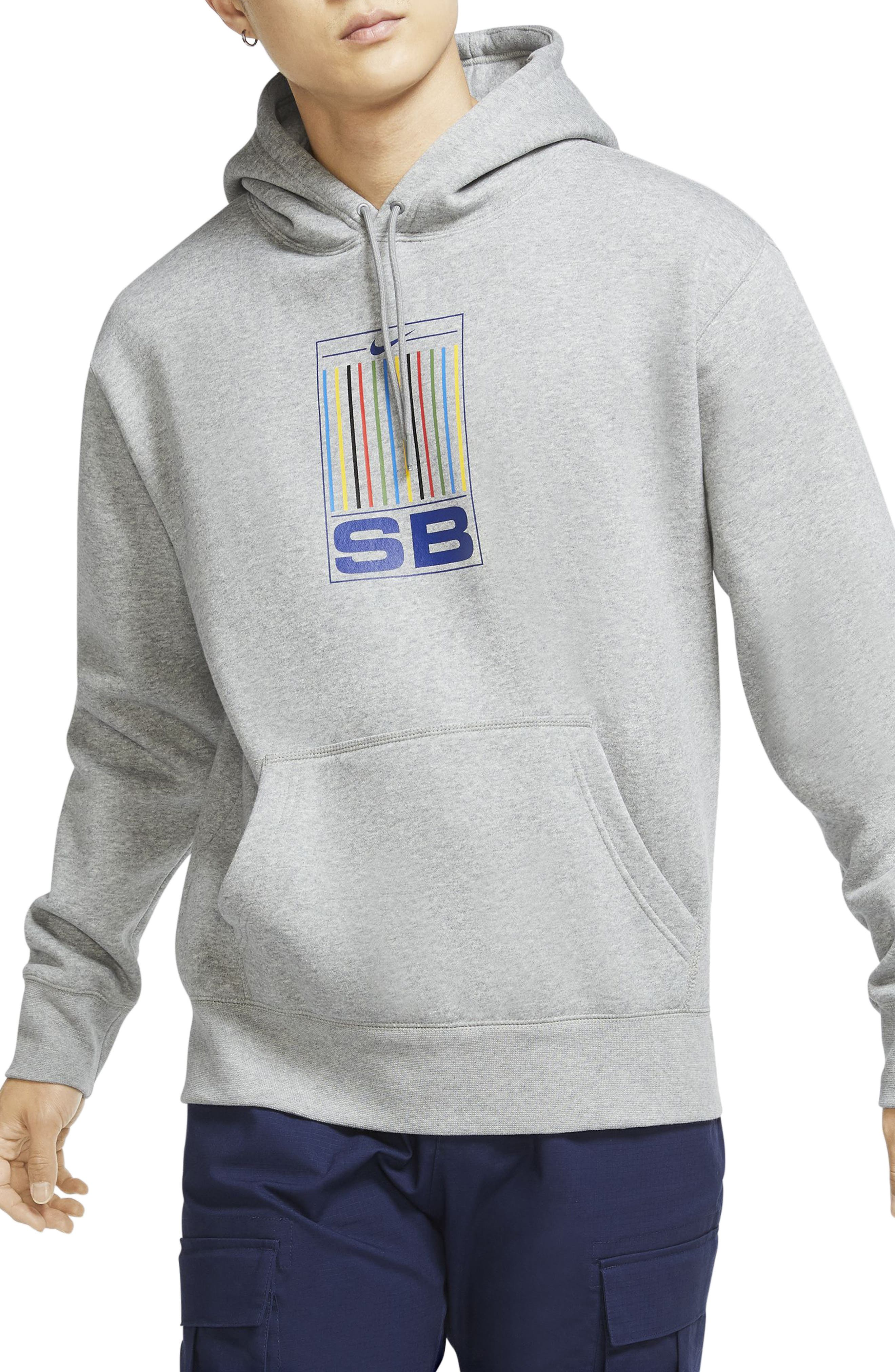 Colorful pinstripes wheel up the front of a hoodie designed to meet the demands of skateboarding, with breathable cotton and a fit that doesn\\\'t hold you back. A hidden front pocket gives you a secure place to stow keys and other small essentials as you roll. Style Name: Nike Sb Skate Hoodie. Style Number: 6010376. Available in stores.